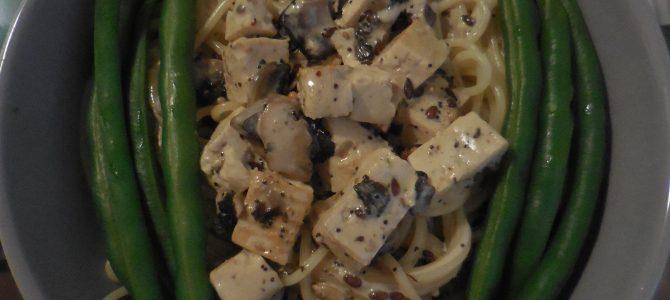 Tofu à la crème et aux champignons